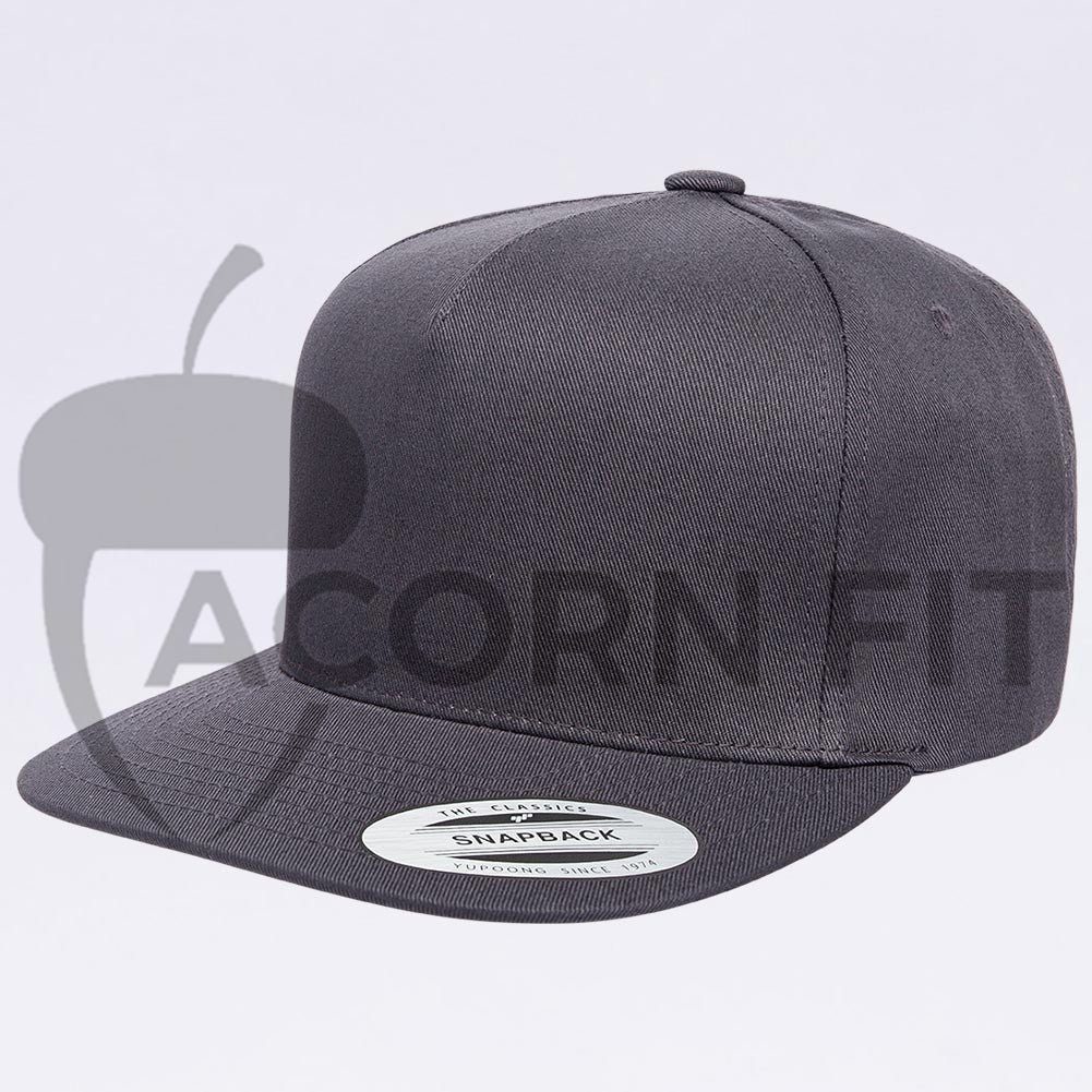 Wholesale Yupoong 6007 5 Panel Cotton Twill Snapback  Dark Grey  – Acorn Fit 6b15df970361