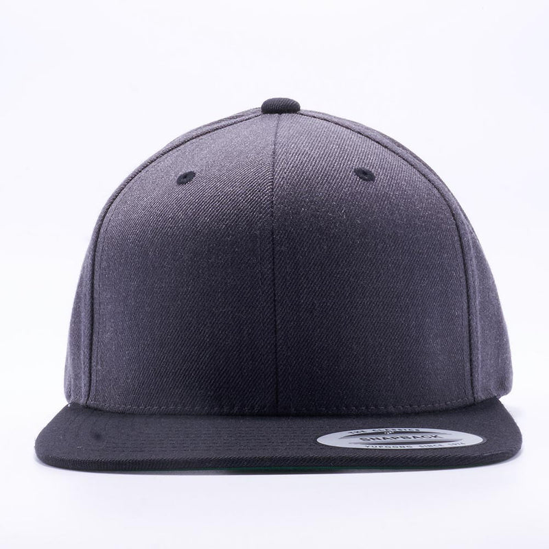Yupoong 6089MT Dark Heather and Black Classic Snapback Hats Wholesale Custom - Acorn Fit