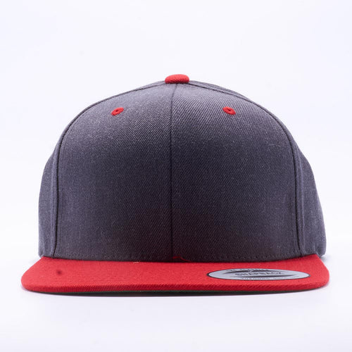Yupoong 6089MT Dark Heather and Red Classic Snapback Hats Wholesale Custom - Acorn Fit