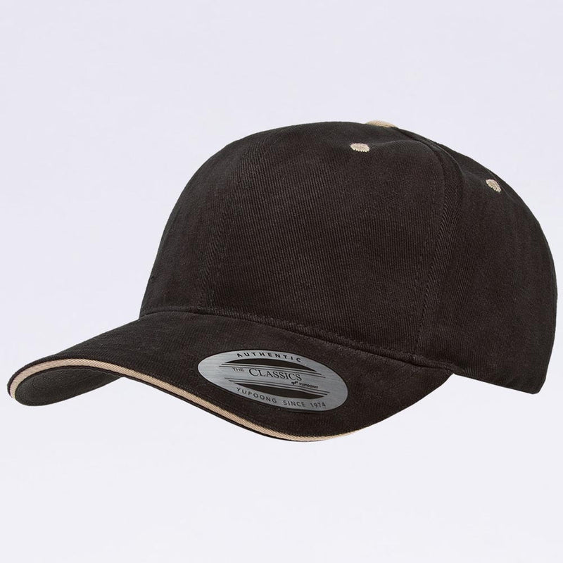 Wholesale Hats - Yupoong 6262SV Black Khaki Sandwich