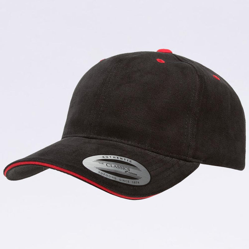 Wholesale Hats - Yupoong 6262SV Black Red Sandwich