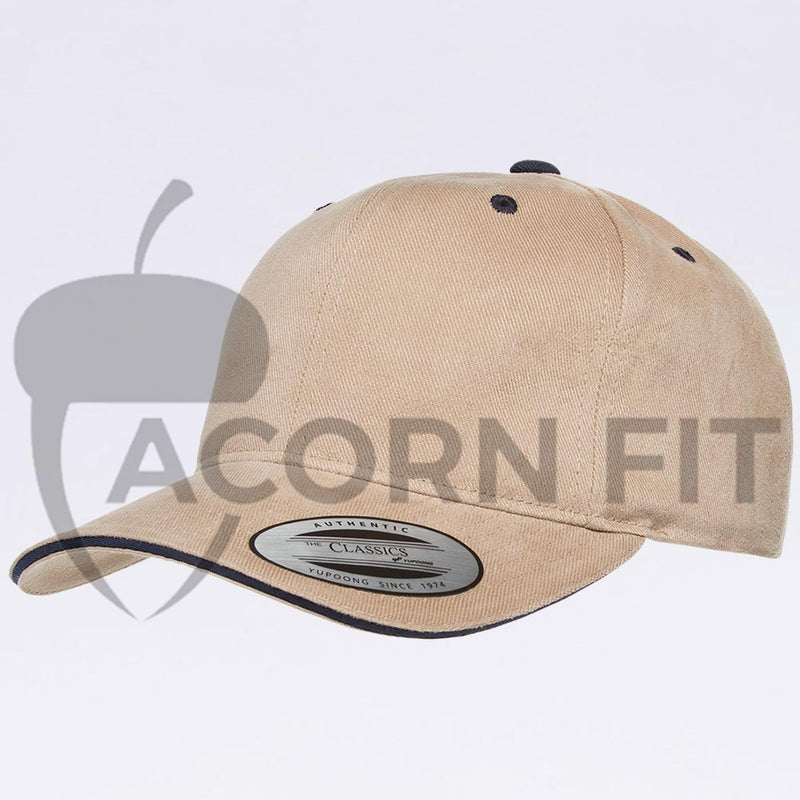 Wholesale Hats - Yupoong 6262SV Khaki Navy Sandwich