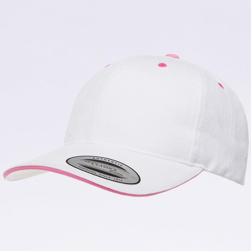 Wholesale Hats - Yupoong 6262SV White Pink Sandwich