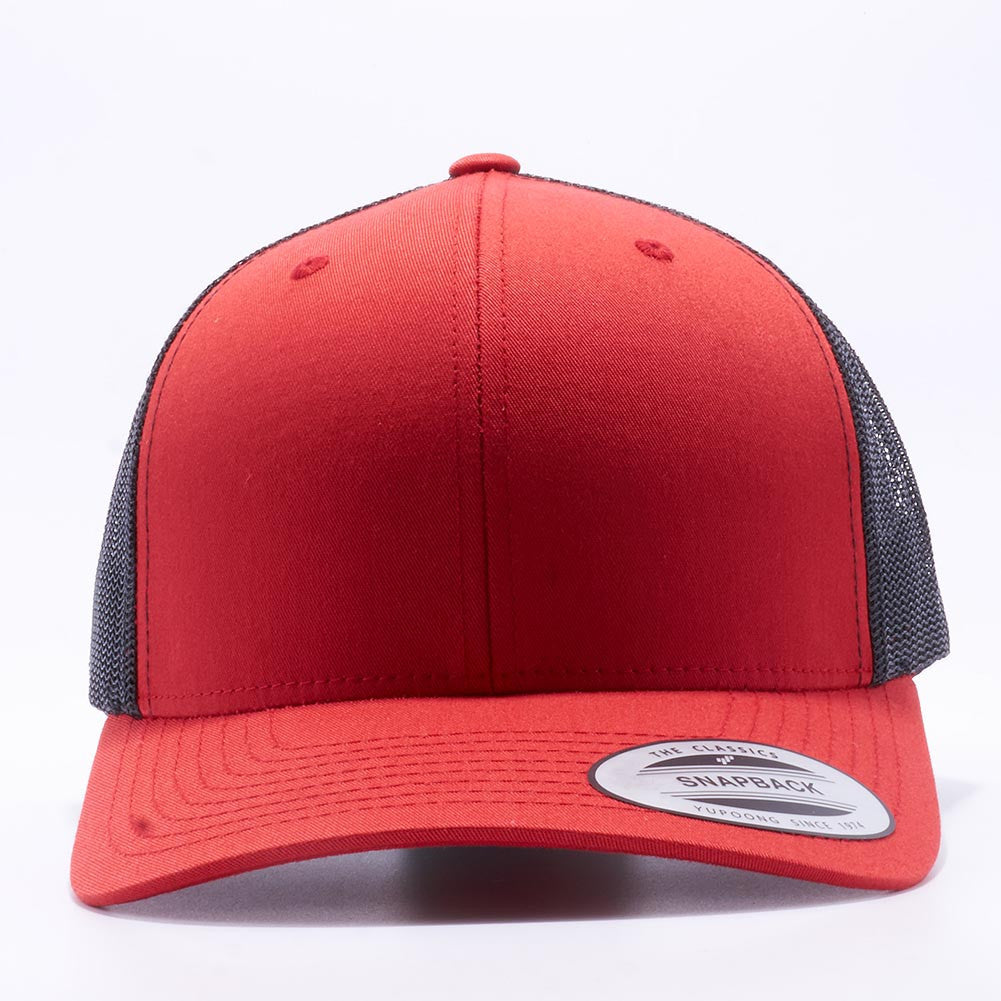 7c46103c2c026 Yupoong 6606T Red and Black Two Tone Classic Retro Trucker Hats Caps  Wholesale Custom - Acorn