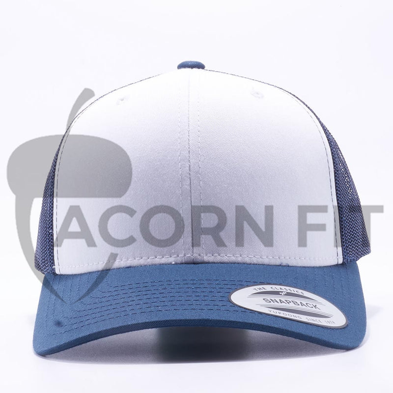 Yupoong 6606W Navy and White Front Panel Classic Retro Trucker Hats Caps Wholesale Custom - Acorn Fit