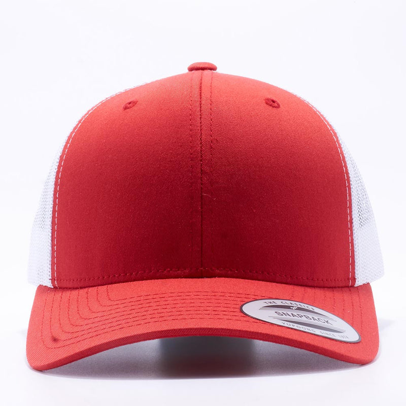 Yupoong 6606T Red and White Two Tone Classic Retro Trucker Hats Caps Wholesale Custom - Acorn Fit