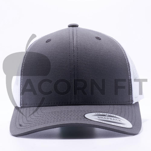 Yupoong 6606T Charcoal and White Two Tone Classic Retro Trucker Hats Caps Wholesale Custom - Acorn Fit