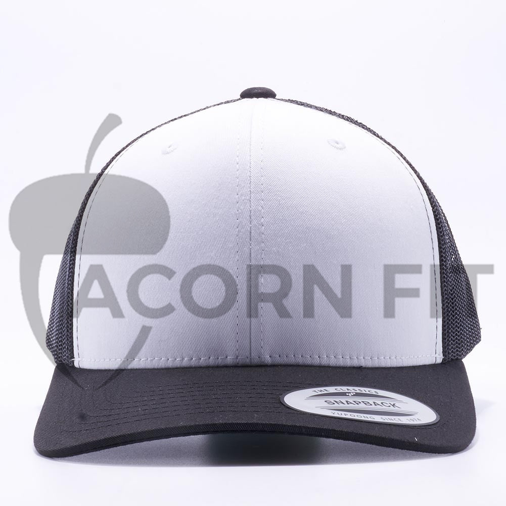 007ac1ef3ee Yupoong 6606W Black and White Front Panel Classic Retro Trucker Hats Caps  Wholesale Custom - Acorn