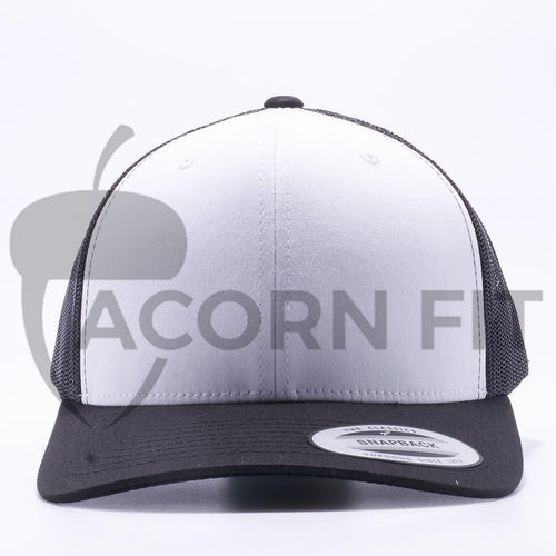 f78d4731 Yupoong 6606W Black and White Front Panel Classic Retro Trucker Hats Caps  Wholesale Custom - Acorn