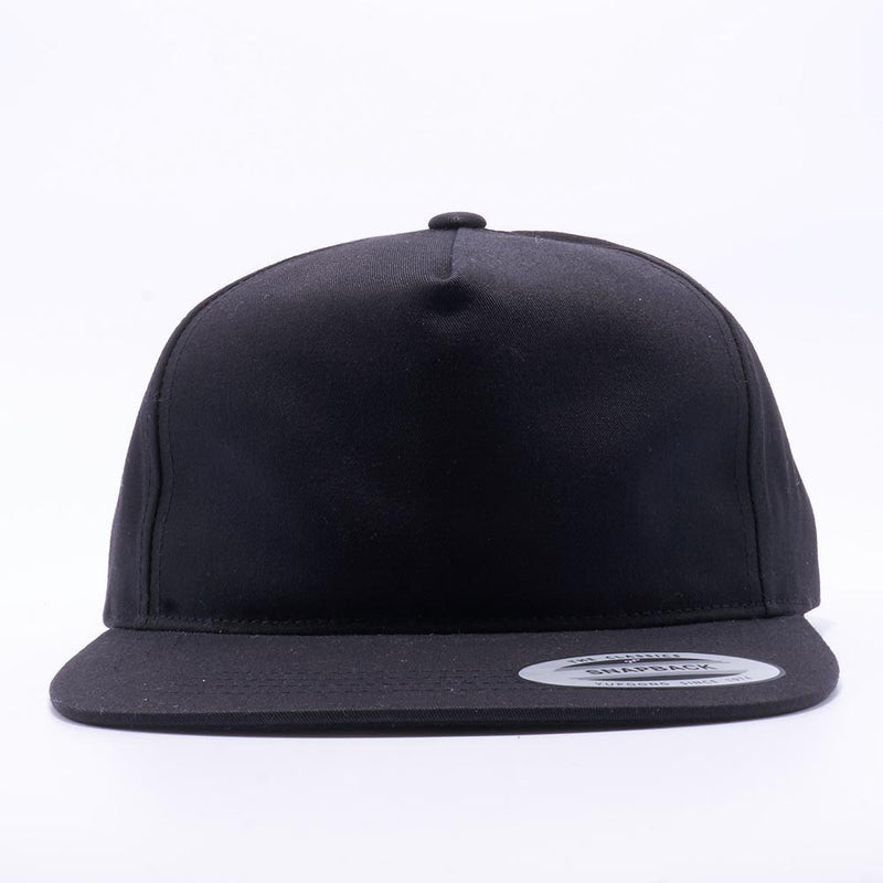 Black Wholesale Yupoong 6502 Unstructured 5 Panel Snapback Hat Custom - Acorn Fit