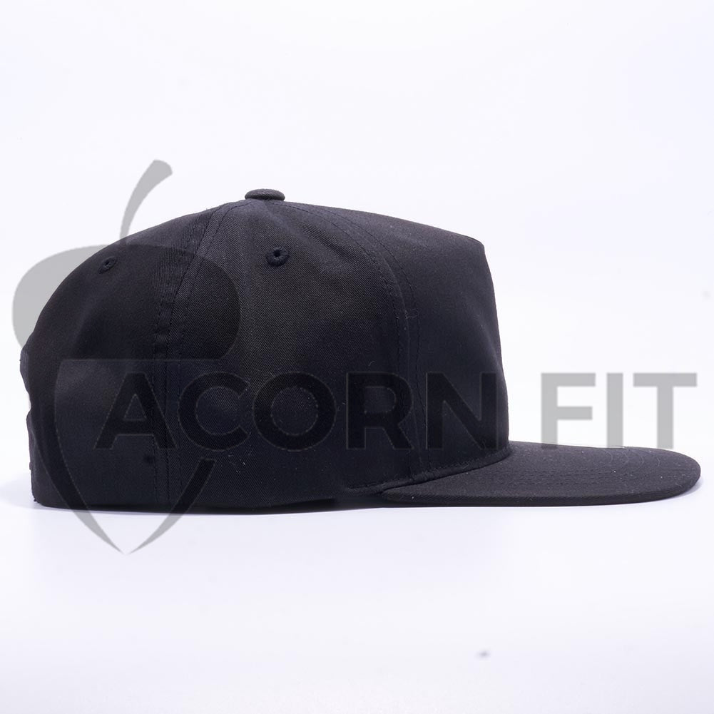 Wholesale Yupoong 6502 Unstructured 5 Panel Snapback  Black  – Acorn Fit 87d285abd0a8