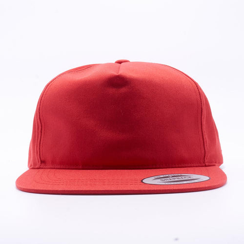 Red Wholesale Yupoong 6502 Unstructured 5 Panel Snapback Hat Custom - Acorn Fit