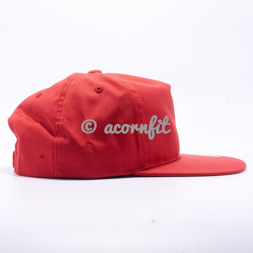 d6d94d0baea90 Wholesale Yupoong 6502 Unstructured 5 Panel Snapback  Red  – Acorn Fit