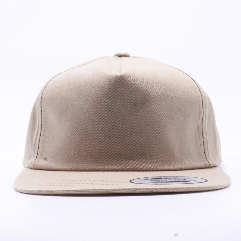 Khaki Wholesale Yupoong 6502 Unstructured 5 Panel Classic Snapback Hat Custom - Acorn Fit
