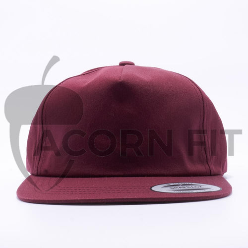 Maroon Wholesale Yupoong 6502 Unstructured 5 Panel Classic Snapback Hat Custom - Acorn Fit