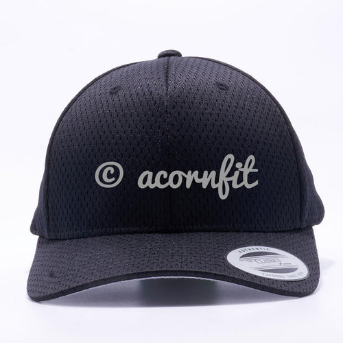Yupoong The Classics 6008 Black Athletic Pro Mesh Hat Wholesale and Custom- Acorn Fit