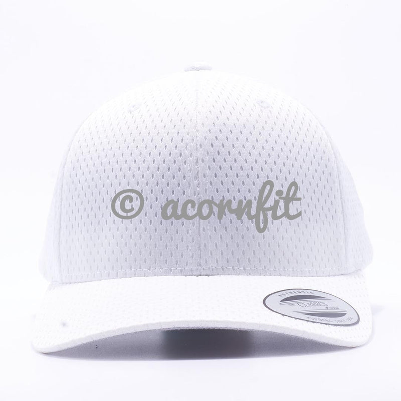 Yupoong The Classics 6008 White Athletic Pro Mesh Hat Wholesale and Custom- Acorn Fit