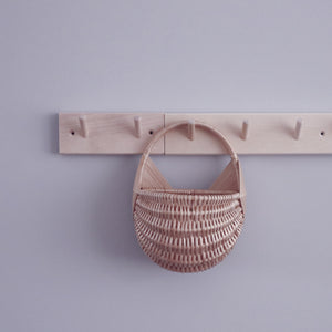 wicker wall basket on wooden hanger flower basket