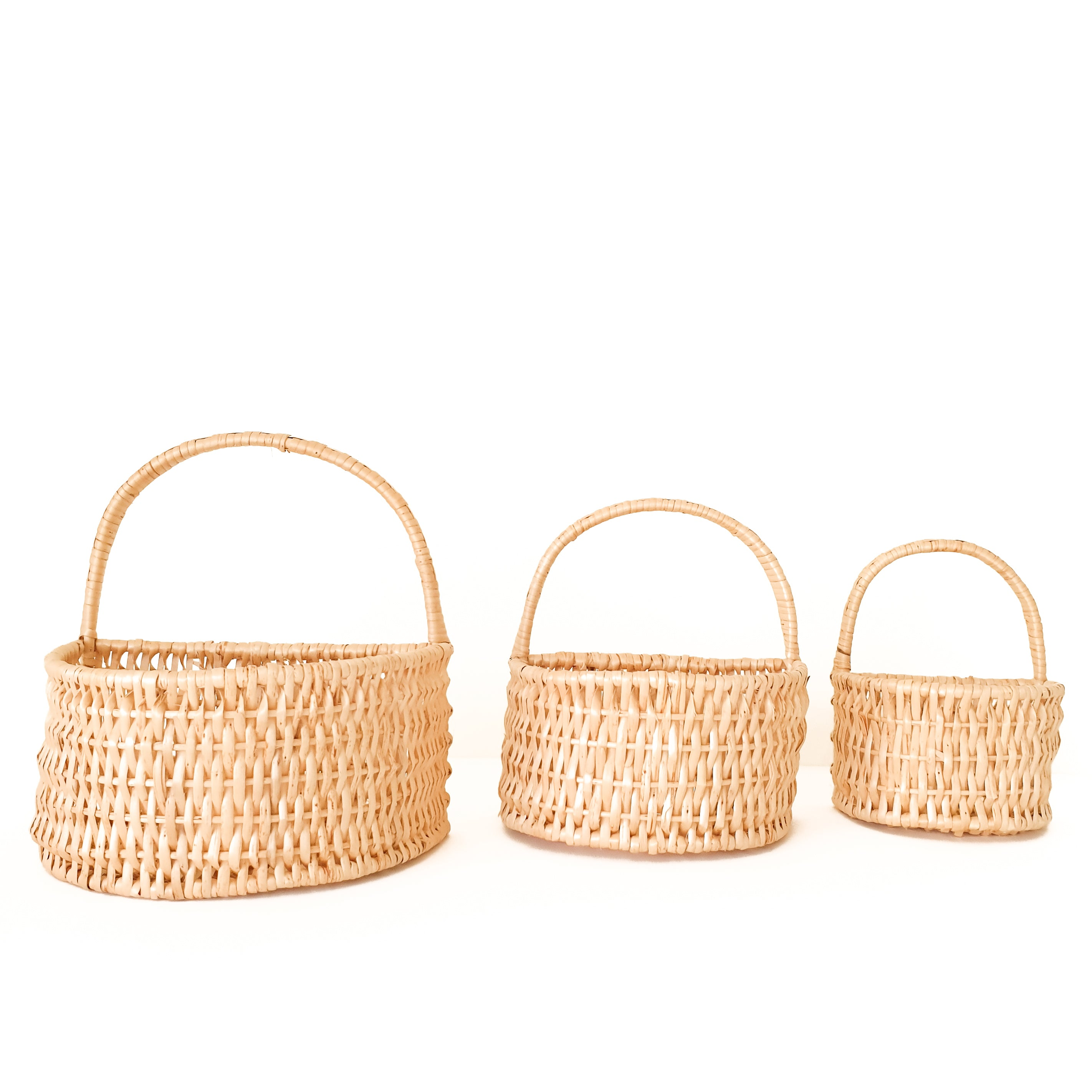 set of 3 wall baskets rattan decoration