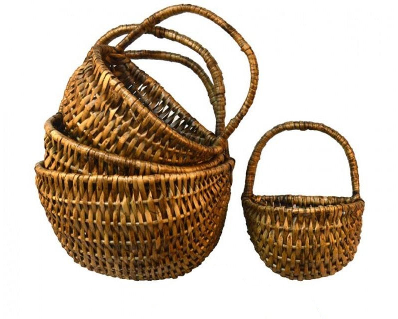 Set 4 Wicker Wall Baskets Walnut Vintage