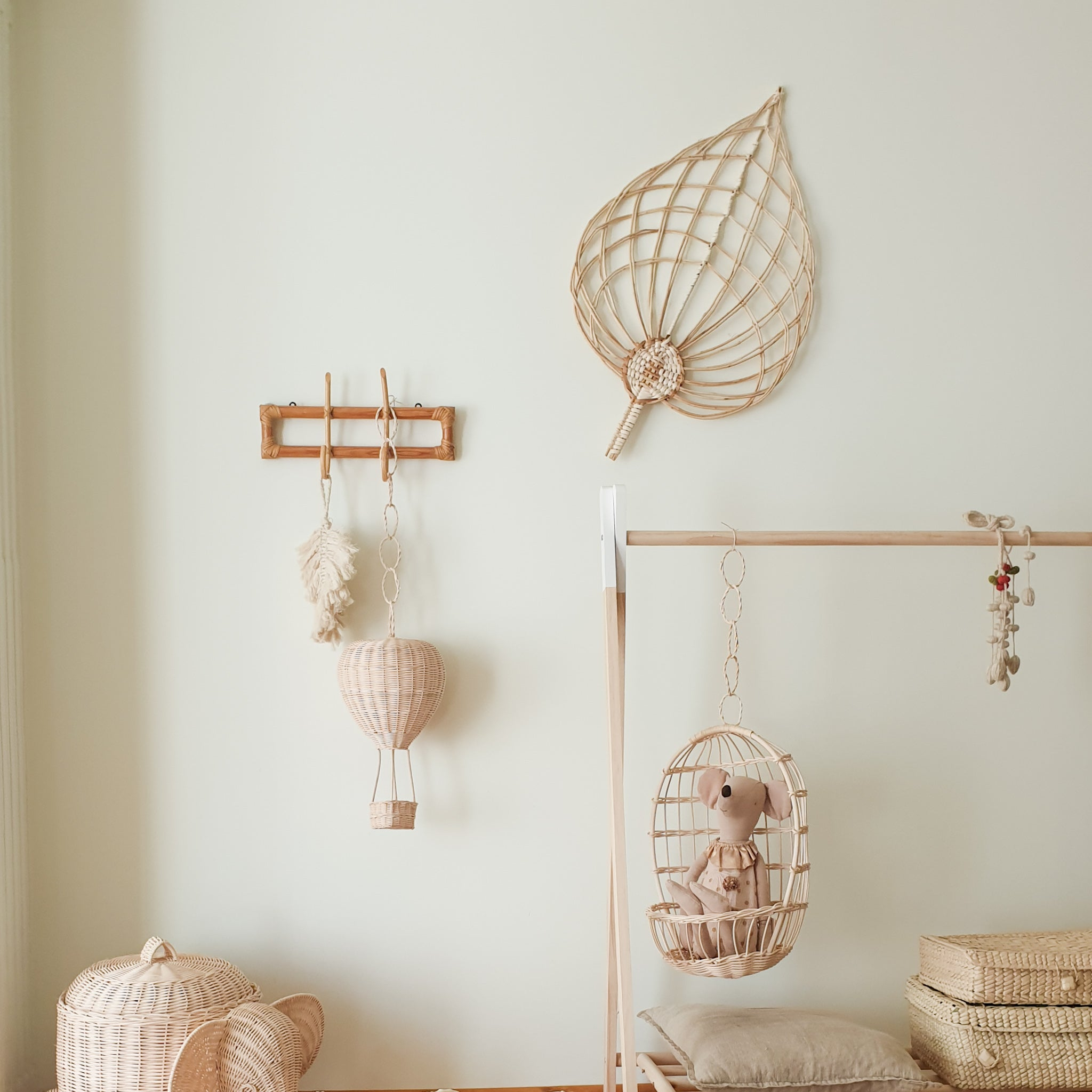 rattan playroom decor