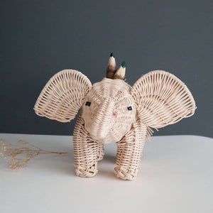 pencil holder elephant in wicker made in mexico