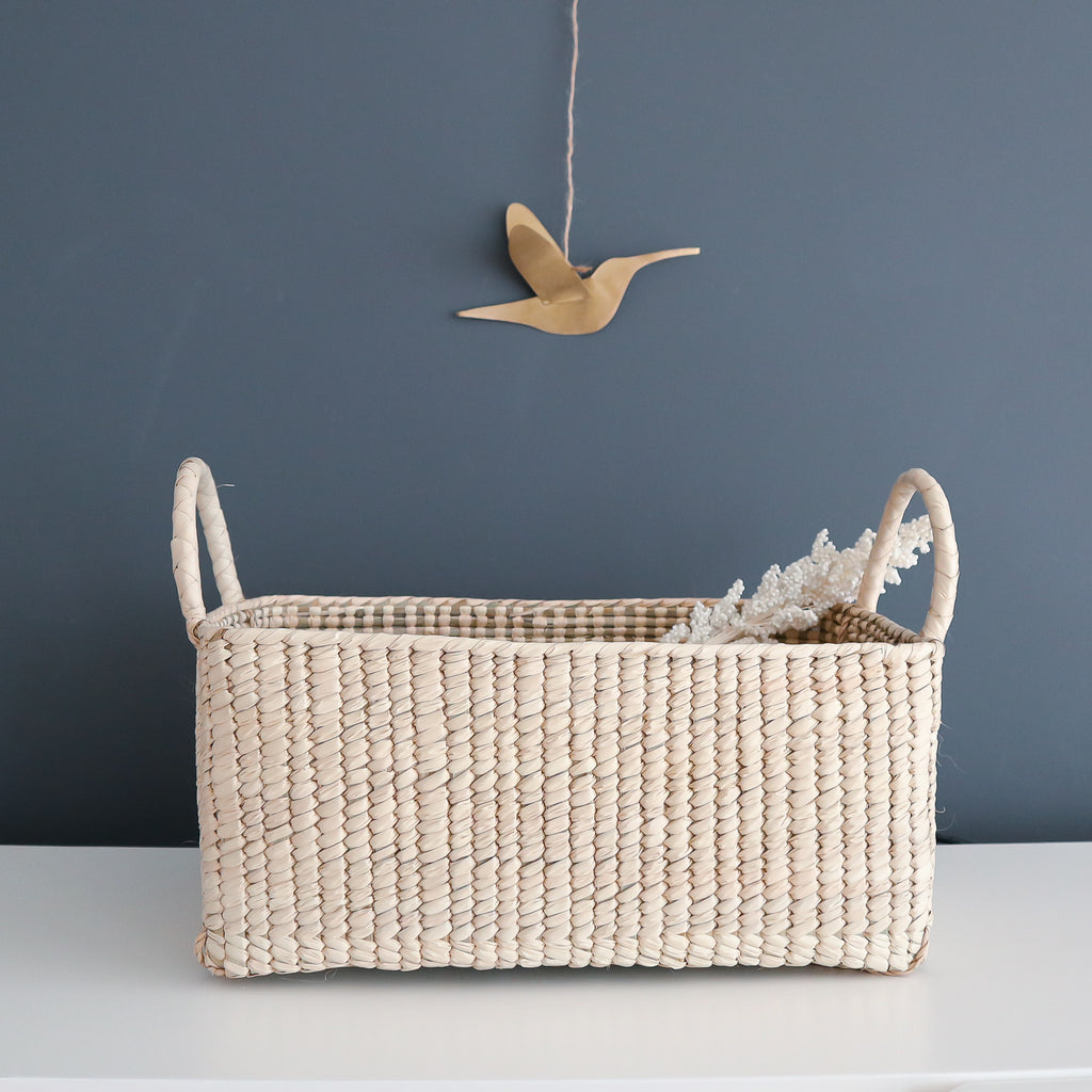 palm leaf basket with handles made in mexico coconeh