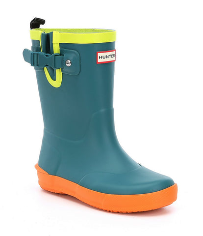 "Hunter Kids ""Davison"" Rain Boots Horizon/Comet Orange/Citrine"