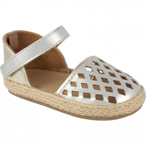 Baby Deer Perforated Espadrille Silver/Gold