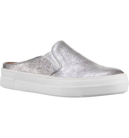 "Nina ""Gail"" Sneaker Mule Silver Metallic Crackle"