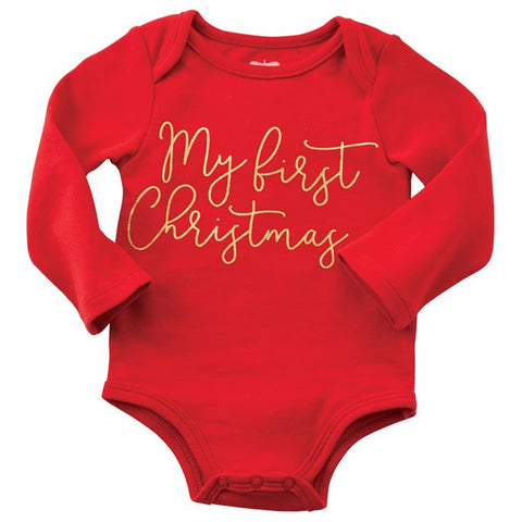 "Mud Pie ""My First Christmas"" Crawler and Headband Set"