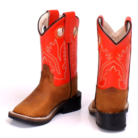 "Old West ""BSI1811"" Western Boot Brown/Red-Orange"