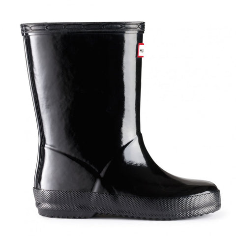 "Hunter Kids ""First Gloss"" Wellington Boots Black"