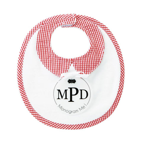 "Mud Pie ""Monogram Me"" Red Gingham Collar Velour Baby Bib"
