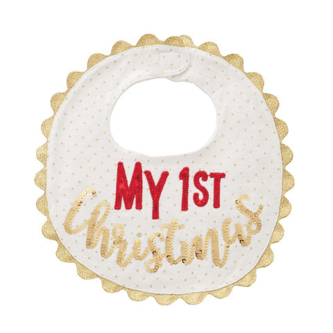 "Mud Pie ""My 1st Christmas"" Sequin Baby Bib"