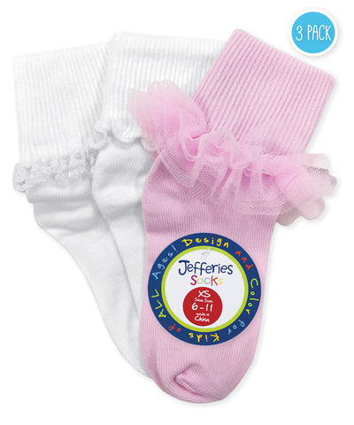 "Jefferies ""Ruffle/Ripple/Lace"" 3-Pack Socks White/Pink"