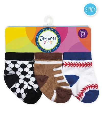 "Jefferies ""Playtime Sports"" 3-Pack Socks"