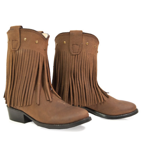 "Old West ""3125"" Fringe Western Boot Brown"