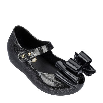 "Mini Melissa ""Ultragirl Sweet I Black"" Peep-Toe Flat Black"