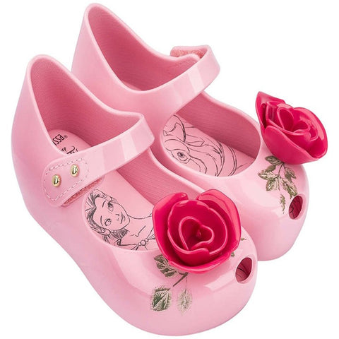 "Mini Melissa ""Ultragirl + Beauty and the Beast Enchanted Rose"" Mary Jane Pink"