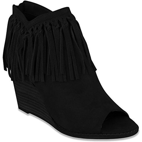 "Mari A. Women's ""Athena"" Peep-Toe Wedge Bootie Black"