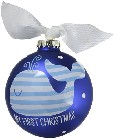 "Coton Colors Blue Whale ""First Christmas"" Ornament"
