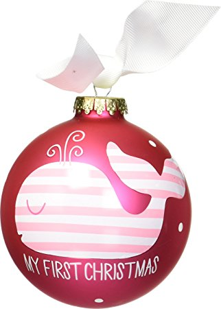 "Coton Colors Pink Whale ""First Christmas"" Ornament"