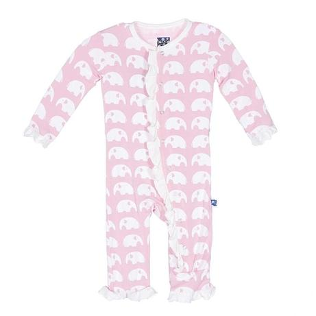 "KicKee Pants ""Classic Ruffle Coverall with Snaps"" Pink Elephant"