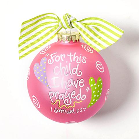"Coton Colors ""For This Child"" Pink Ornament"