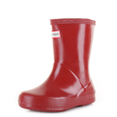 "Hunter Kids ""First Gloss"" Wellington Boots Military Red"
