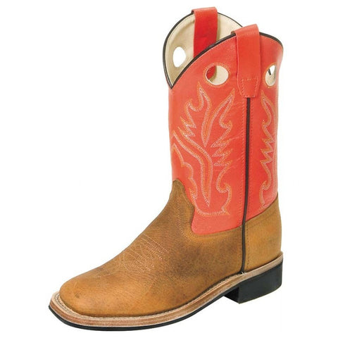"Old West ""BSC1811"" Western Boot Brown/Red-Orange"