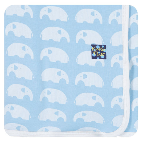 "KicKee Pants ""Essential Swaddling Blanket"" Blue Elephant"