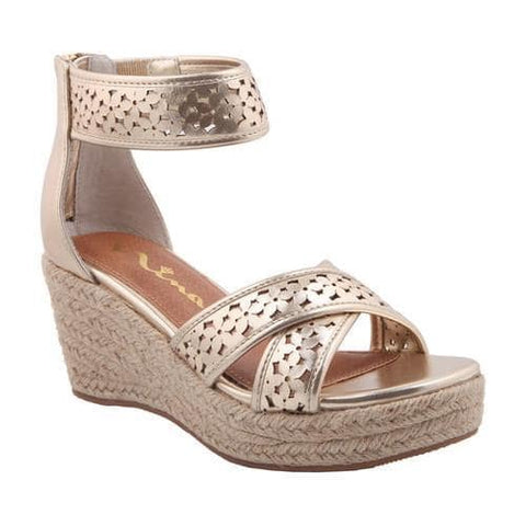 "Nina ""Chicory"" Perforated Platform Sandal Platino Burnished"