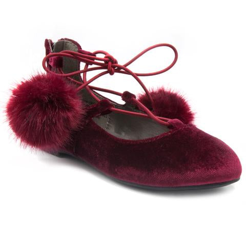 "Sugar Kids ""Lollipop"" Lace-Up Flats Maroon Velvet"